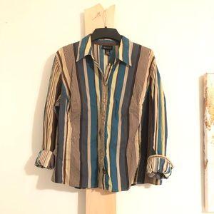 Vintage Lane Bryant Stripe Blouse Shirt Top o